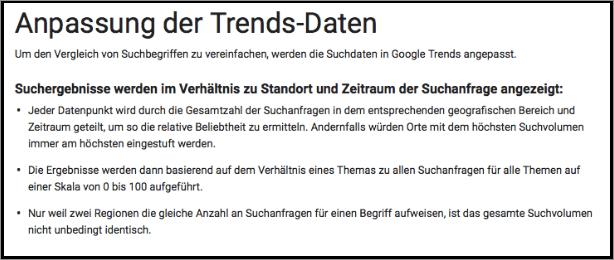 Google Trends Anpassung der Daten
