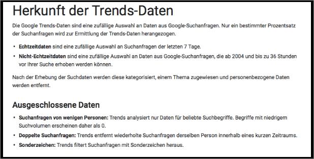 Google Trends Herkunft der Daten