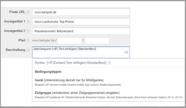 Eine IF-Funktion in Google Adwords einrichten.