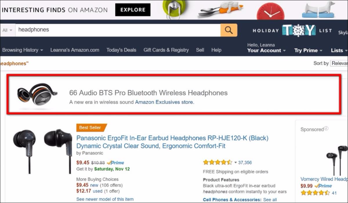 Beispiele für Amazon Headline Search Ads.