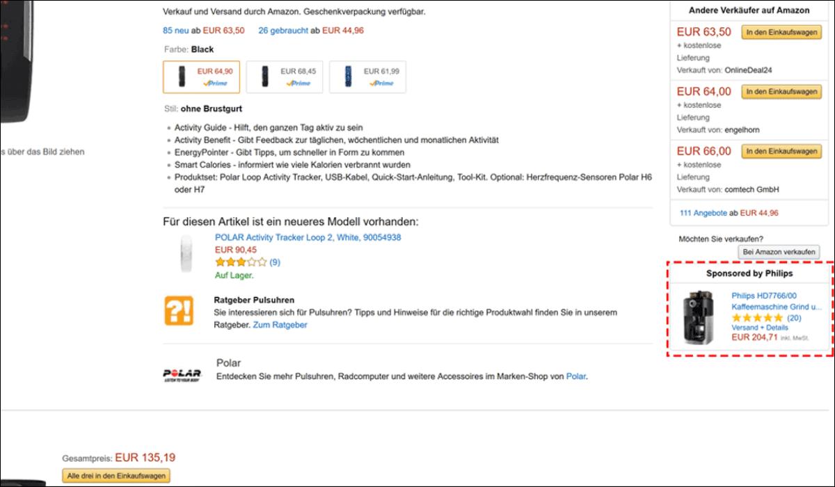 Beispiel für Amazon Product Display Ads.