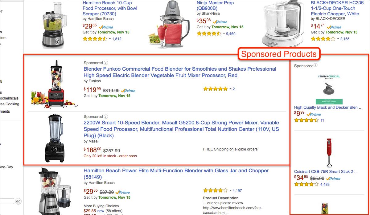 Beispiele für Amazon Sponsored Products.