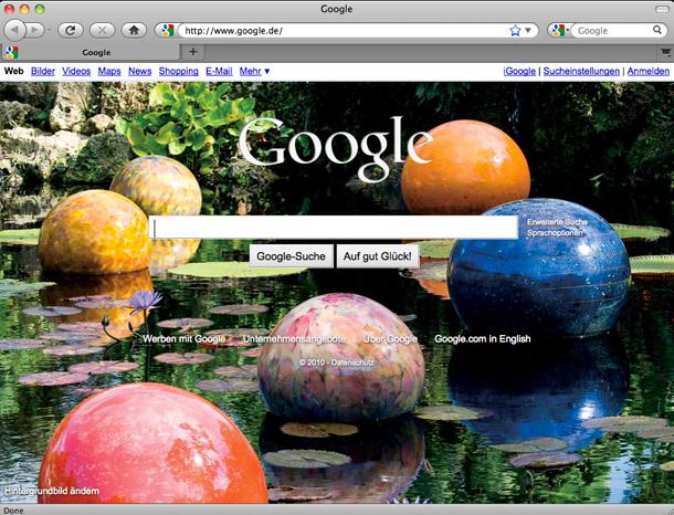 Google mit wechselndem Hintergrund