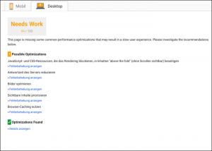 Desktop-Auswertung des Google PageSpeed Tools.
