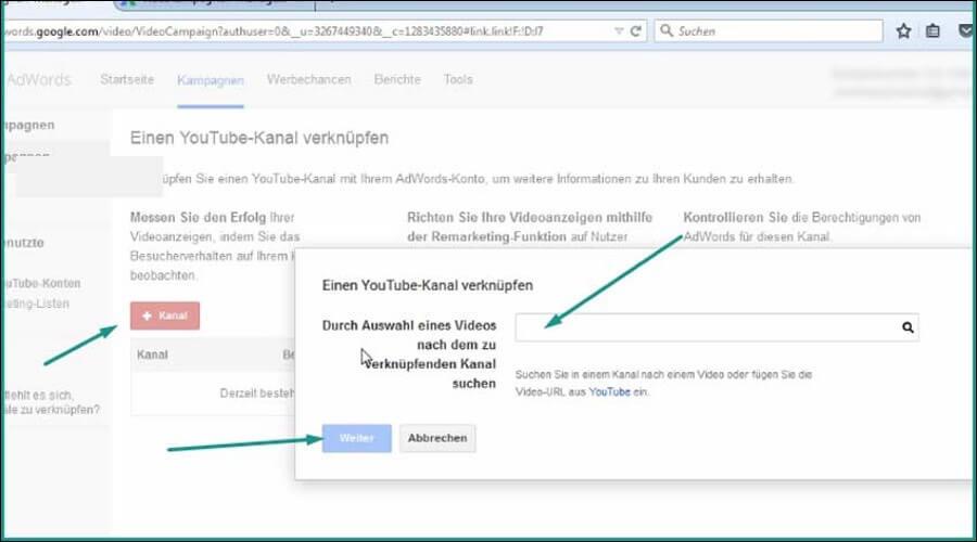 Erstellen von Google AdWords Videokampagne.