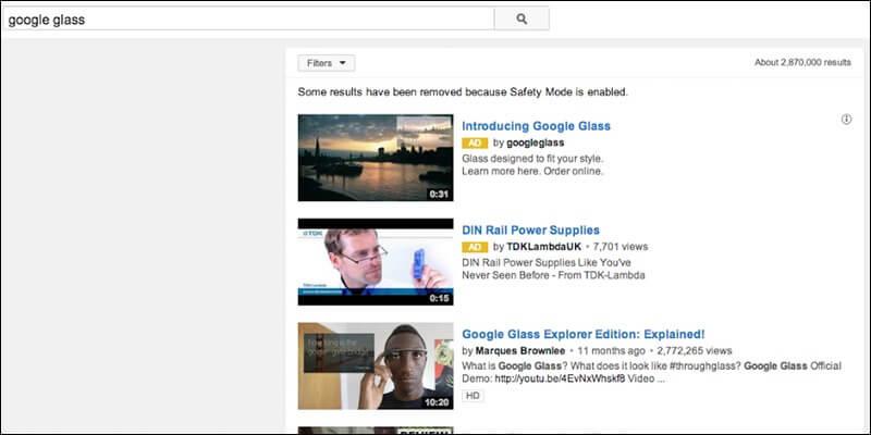 TrueView Discovery Anzeigen in den Suchergebnissen.